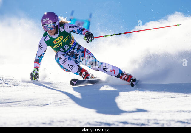 Solden, Austria. 22nd Oct, 2016. Michaela Kirchgasser of Austria competes during the first run of FIS World Cup - Stock Image