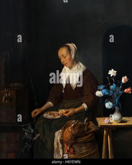 Woman Eating, The Cat's Breakfast, by Gabriel Metsu, circa 1661-64, oil on panel, Rijksmuseum, Amsterdam, Netherlands, - Stock Image