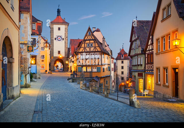Rothenburg ob der Tauber. Image of the Rothenburg ob der Tauber a town in Bavaria, Germany. - Stock Image