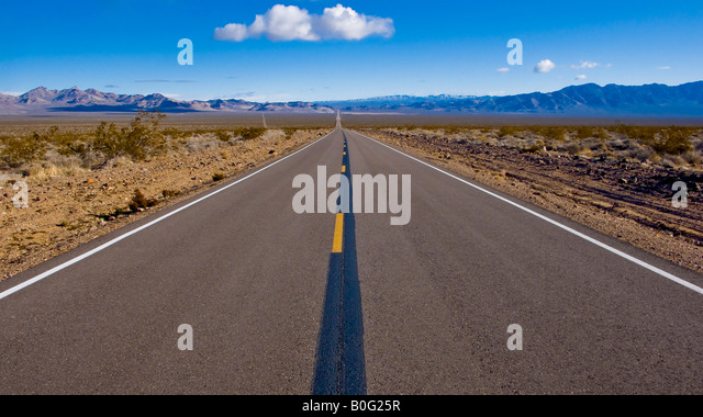 Highway Death Valley National Park California Nevada USA - Stock Image
