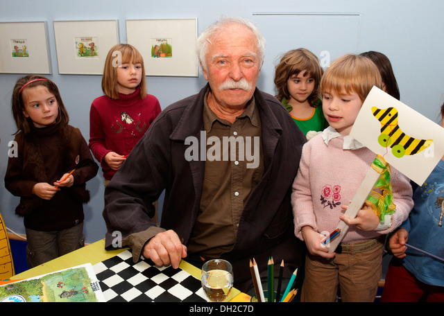 The illustrator, children's book author and writer Janosch aka Horst Eckert at the opening of his exhibition - Stock Image