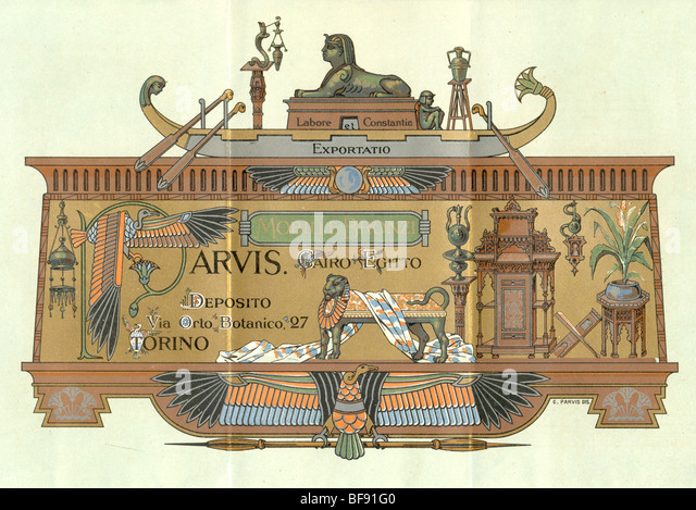 Advertising leaflet for shop selling Artistic Furniture and Bronzes of Oriental Style   See BF91NT for exterior - Stock-Bilder