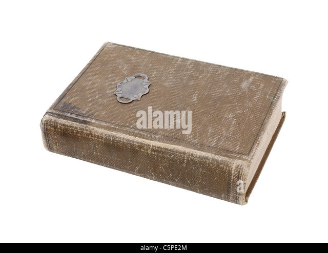 Well loved antique book with worn cover - path included - Stock Image