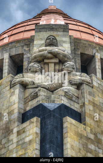 Sculptures of the Monument to the Mexican Revolution (Monumento a la Revolución Mexicana) in Republic Square - Stock Image