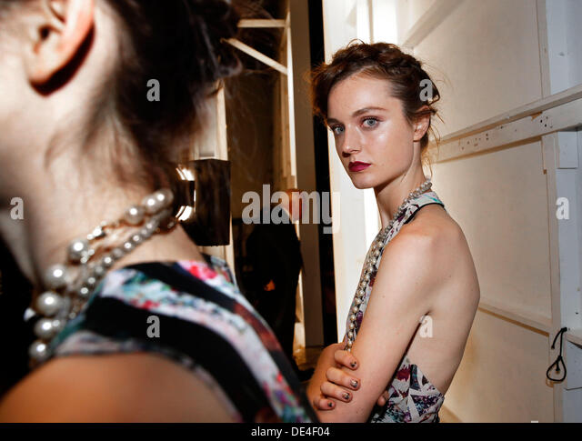 New York, NY, USA. 10th Sep, 2013. Models backstage at MBFW in New York City. Credit:  Scott Houston/Alamy Live - Stock Image