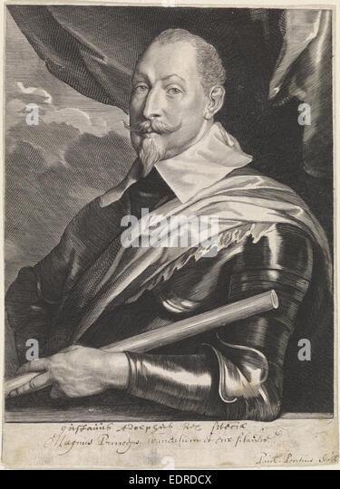 Portrait of Gustavus Adolphus, King of Sweden, Paulus Pontius, Anthony van Dyck - Stock Image
