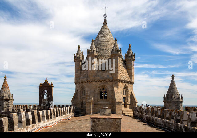 Rooftop of Evora Cathedral (the Se) in the city of Evora in Portugal. Evora is a UNESCO World Heritage Site. - Stock Image