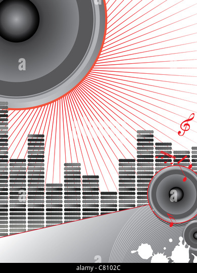 musical theme with loudspeakers and music notes - Stock Image