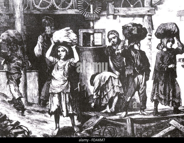 BRICK MAKING AT ASHTON-UNDER-LYME, England in 1871. Children carrying lumps of compressed clay as  described in - Stock Image