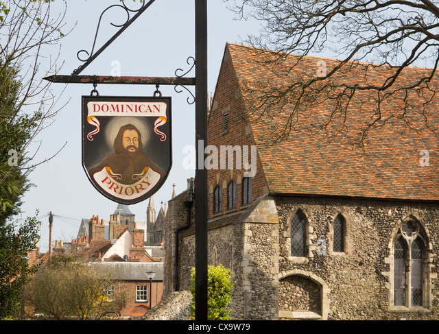 Dominican Priory Sign Canterbury Kent UK England  The King School Canterbury now use the Priory for educational - Stock-Bilder