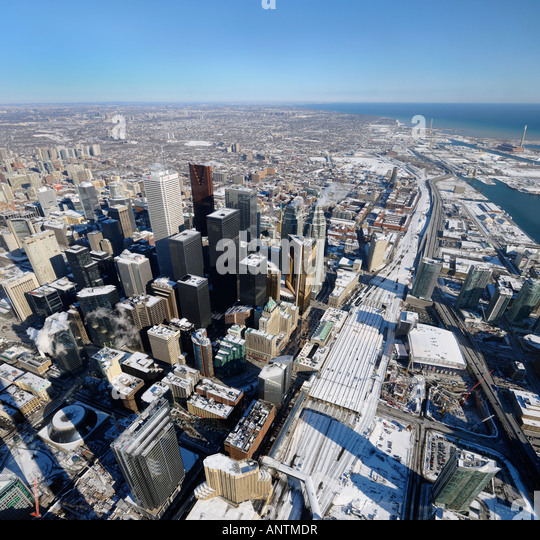 Aerial view of downtown highrises and Toronto East in winter from CN Tower - Stock Image