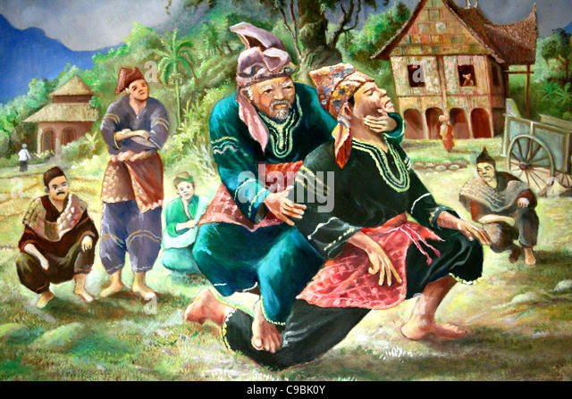 Traditional Scene Of Indonesian Wrestling - Stock Image