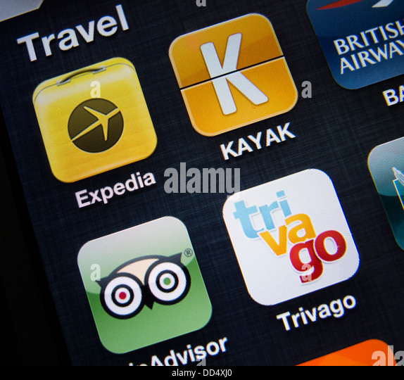 detail of many travel apps on a iPhone 5 smart phone - Stock-Bilder