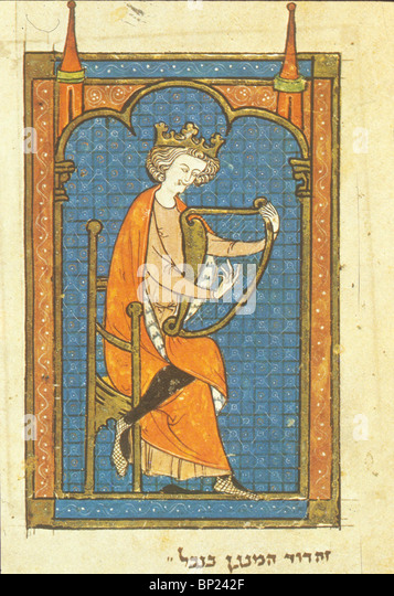 364. KING DAVID, HEBREW MANUSCRIPT FROM NORTH FRANCE, C. 1280 - Stock Image