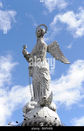 Statue of the Virgin of Quito on the Panecillio, Ecuador, South America - Stock Image