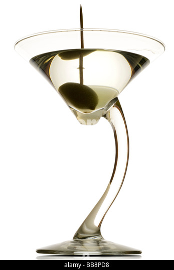 a martini glass with the drink and an olive in it dirty on white clipping path included - Stock-Bilder