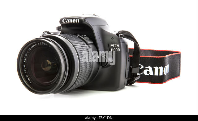 Canon 1100D DSLR Camera on a white background - Stock Image