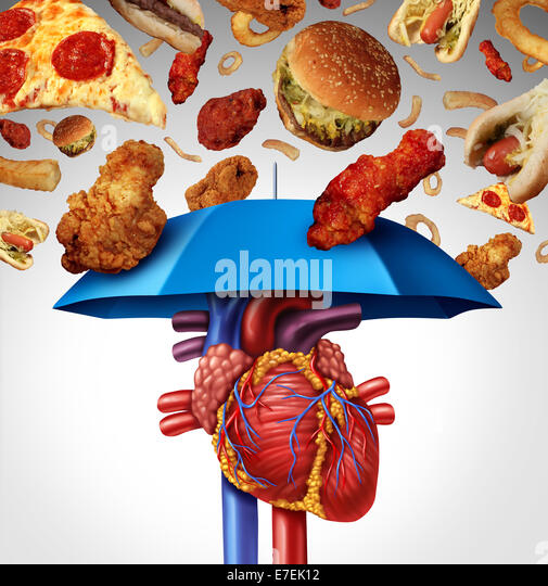 Heart protection medical concept as a symbol to avoid a clogged artery and atherosclerosis disease  as a blue umbrella - Stock Image