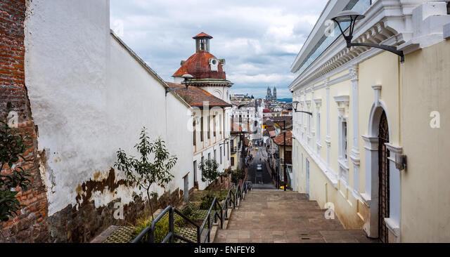Historical center of old town Quito in northern Ecuador in the Andes mountains - Stock Image