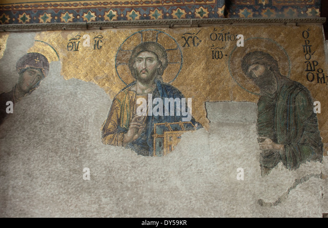 Byzantine mosaic of Jesus with Mary and John the Baptist, in the Hagia Sophia, Istanbul. - Stock Image