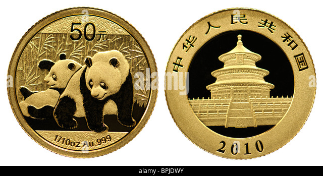 Gold Bullion 10th ounce coin - Chinese 2010 Panda - Stock Image
