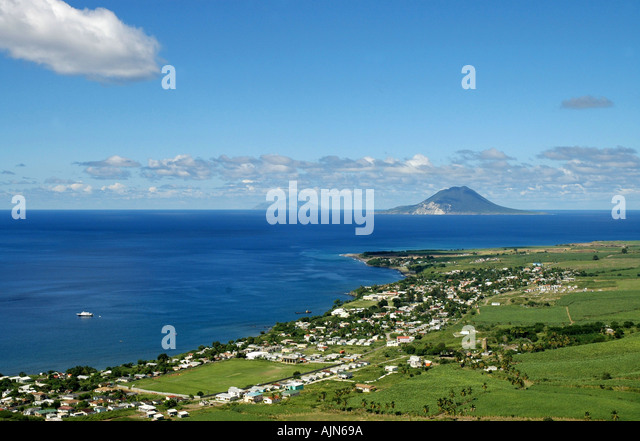 St Kitts  scenic panorama from Brimstone Hill Fortress National Park with St Eustatius and Saba in distance - Stock Image