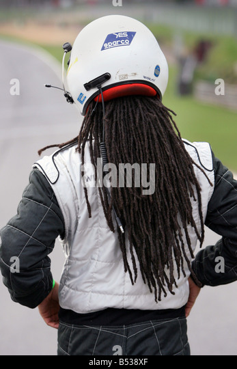 Drivers including ex footballers try out for first Caribbeen Racing Team at Brands Hatch today Olevi Doctrove in - Stock Image