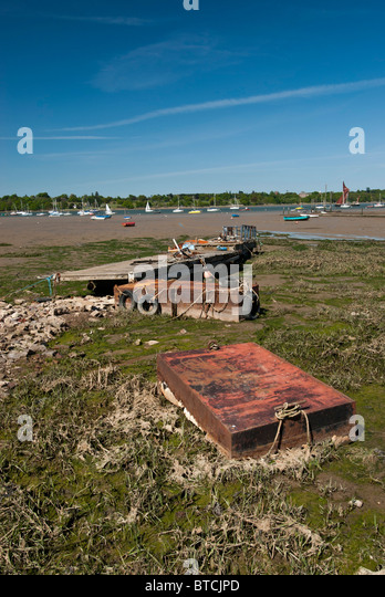 Old boat pontoons on river Orwell, Pin Mill  Suffolk Tide out - Stock Image