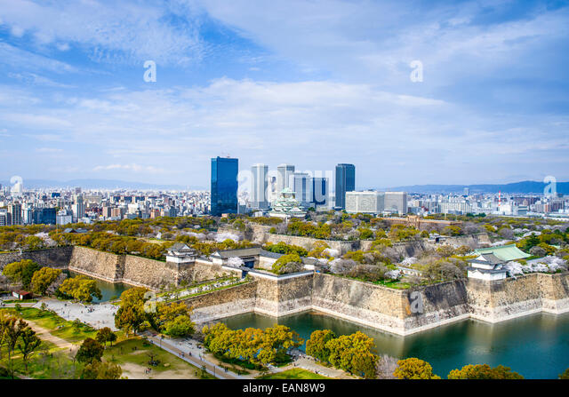 Osaka, Japan city skyline with Osaka Castle. - Stock Image