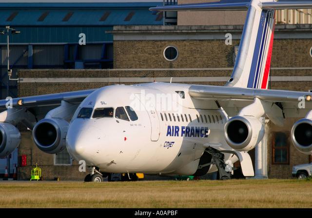 Air France Cityjet British Aerospace BAe 146 200 at London City Airport - Stock Image
