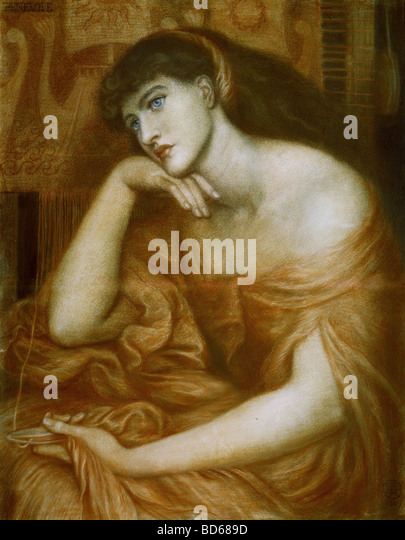 fine arts, Rossetti, Dante Gabriel (1828 - 1882), painting, 'Penelope', oil on canvas, 1869, symbolism, - Stock Image