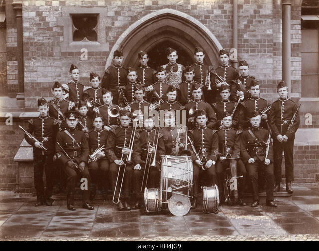 Rugby School OTC band posing for a photograph with their instruments in 1906 (possibly 1907). - Stock Image