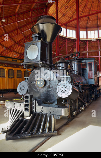 "The B&O No. 57 ""Memnon"" steam locomotive, roundhouse of the B&O Railroad Museum, Baltimore, Maryland. - Stock Image"