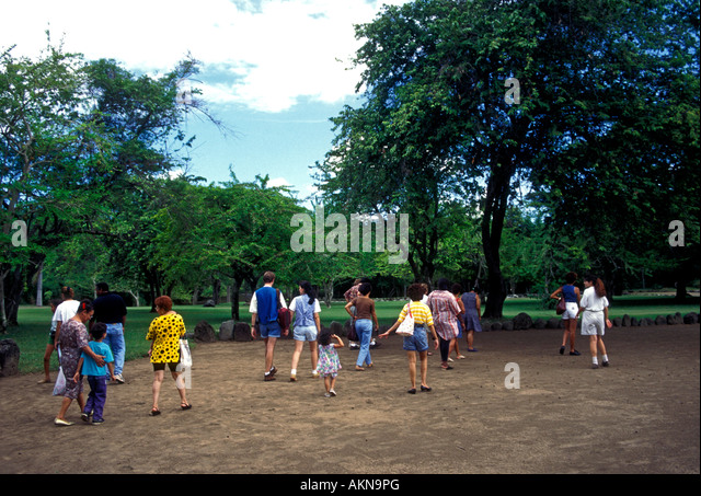 Puerto Rican tourists, tour group, Tibes Indigenous Ceremonial Center, near, city of Ponce, Puerto Rico - Stock Image