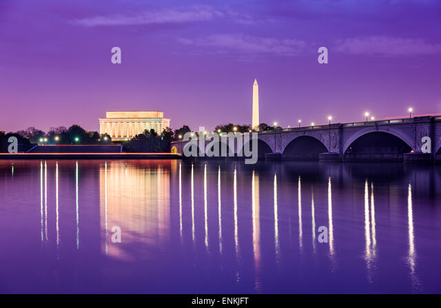 Washington, DC monuments on the Potomac River. - Stock Image
