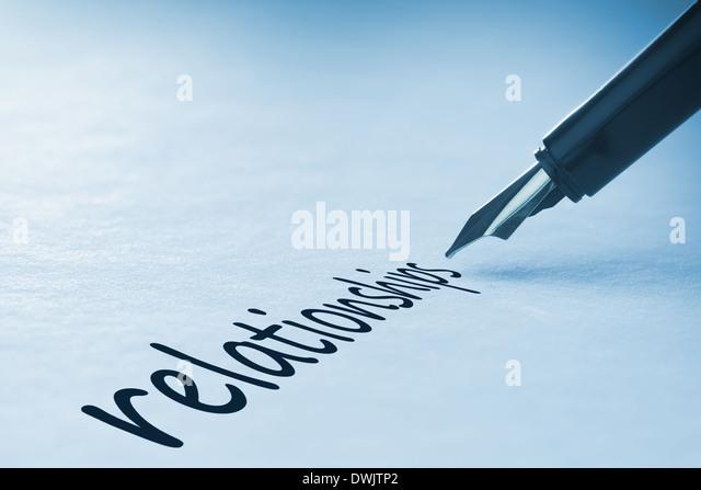 Fountain pen writing Relationships - Stock Image