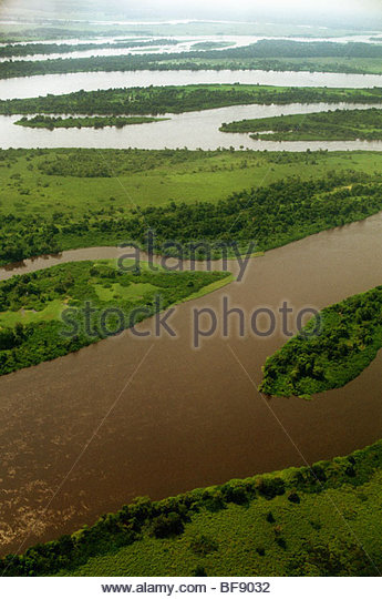 Congo river (aerial), Democratic Republic of Congo - Stock-Bilder