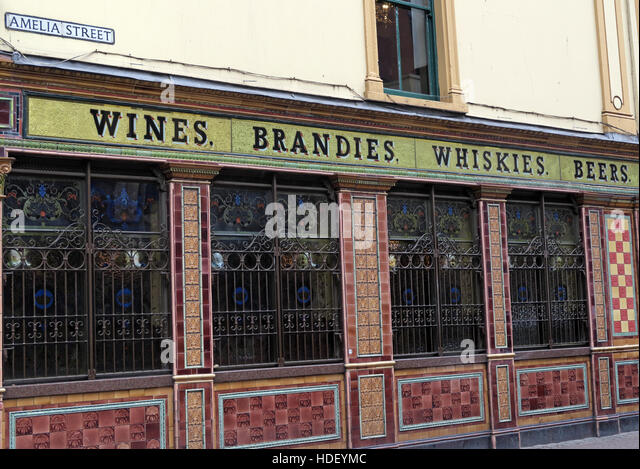 Famous Crown Bar tiles,Gt Victoria/Amelia St,Belfast - Stock Image