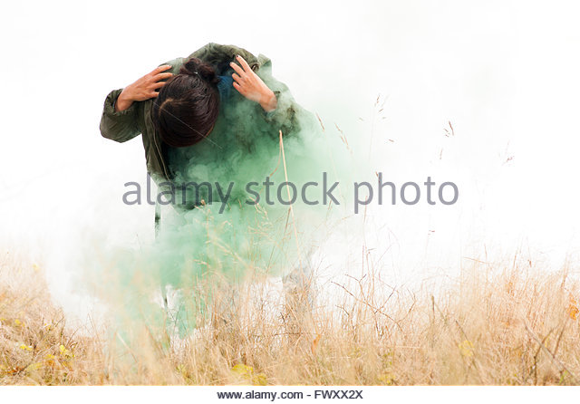 Norway, Woman standing in grass and green smoke - Stock-Bilder