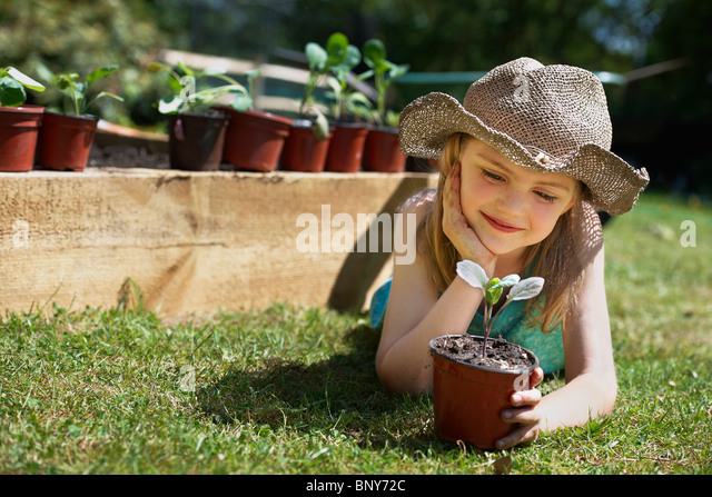 Young girl looking at vegetable plant - Stock Image