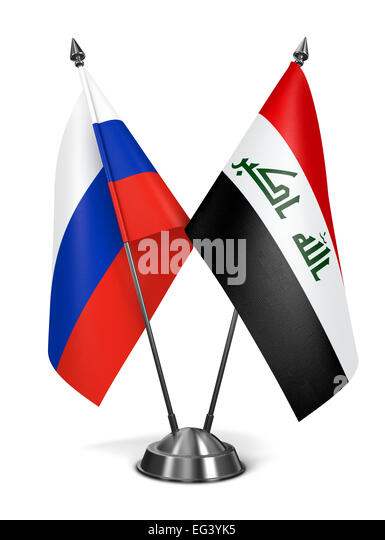 Russia and Iraq - Miniature Flags. - Stock Image