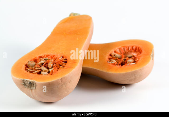 Butternut squash cut in half on white background - Stock Image
