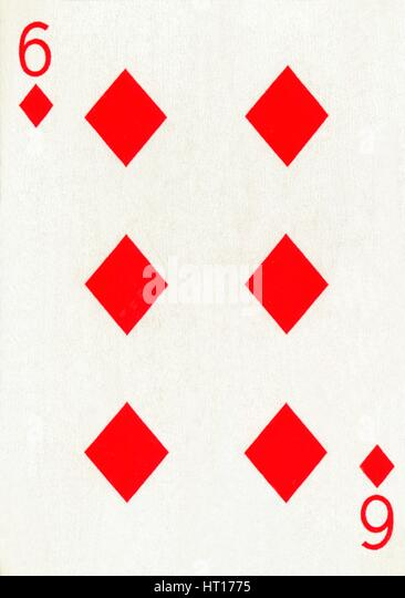 6 of Diamonds from a deck of Goodall & Son Ltd. playing cards, c1940. Artist: Unknown. - Stock Image