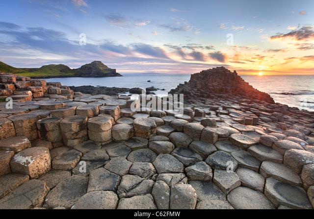 Giants causeway captured at sunset - Stock Image