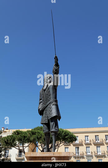 Statue of Blas de Lezo, Cadiz, Spain - Stock Image