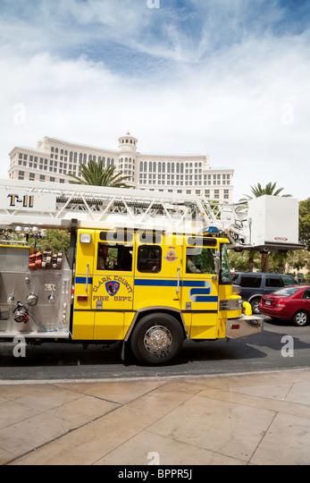 A Clark County firetruck on the strip, Las Vegas Nevada USA - Stock Image