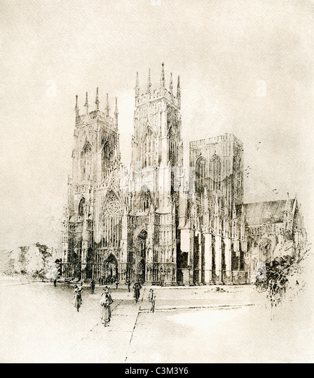 York Minster, York, England. West Front in late 19th century. - Stock Image