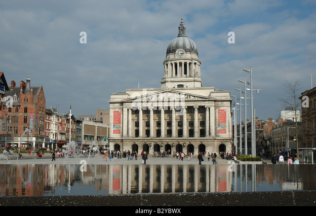 The Council House and Old Market Square, Nottingham, England, UK - Stock Image