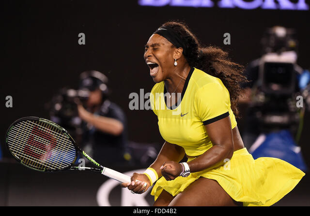 Melbourne Park, Melbourne, Australia. 30th Jan, 2016. Australian Open Womens Singles Final Serena Williams versus - Stock-Bilder