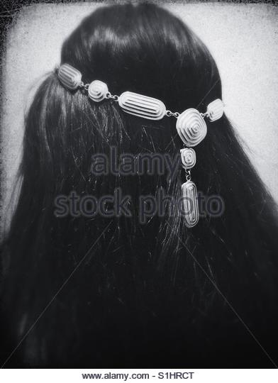 portrait of a girl wearing hair Accessories - Stock Image